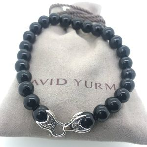"David Yurman 8.5"" 8mm Bead Bracelet Black Onyx"